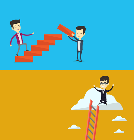 Two business banners with space for text. Vector flat design. Horizontal layout. Man runs up the stairs while another man builds this ladder. Man climbing the career ladder. Concept of business career Illustration