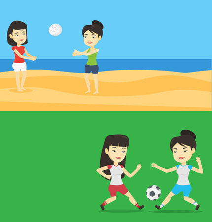 Two sport banners with space for text. Vector flat design. Horizontal layout. Two asian friends having fun while playing beach volleyball. Young sportswoman playing beach volleyball with her friend. Illustration