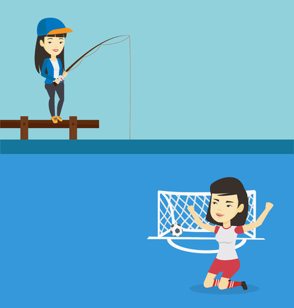 Two sport banners with space for text. Vector flat design. Horizontal layout. Asian woman relaxing during fishing on jetty. Fisherwoman fishing on the lake. Angler standing on jetty with fishing-rod. Illustration