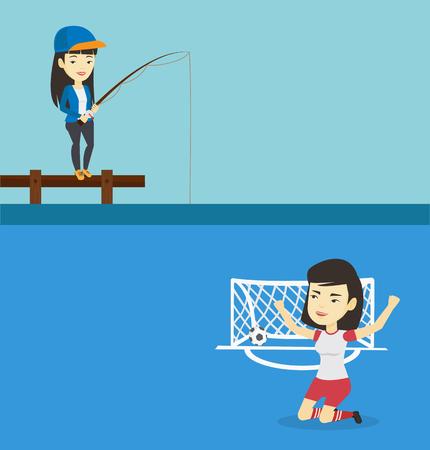 Deux bannières de sport avec un espace pour le texte. Design plat de vecteur. Disposition horizontale. Femme asiatique relaxante pendant la pêche sur la jetée. Pêcheuse pêchant sur le lac. Pêcheur sur la jetée avec une canne à pêche.