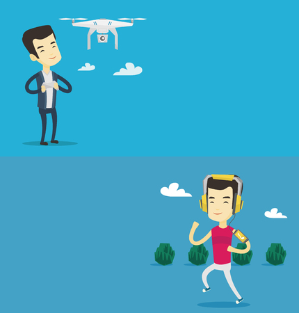 Two technology banners with space for text. Vector flat design. Horizontal layout. Asian man flying drone with remote control. Young man operating a drone with remote control. Man controling a drone.