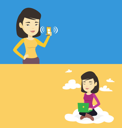 laptop: Two technology banners with space for text. Vector flat design. Horizontal layout. Woman sitting on a cloud with a laptop on knees. Woman using cloud computing technology. Concept of cloud computing.