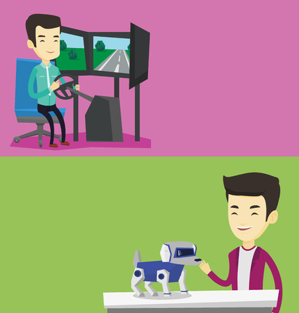 Two technology banners with space for text. Vector flat design. Horizontal layout. Man playing with a robotic dog. Smiling man standing near the table with cyber dog on it. Man stroking a robotic dog. Çizim