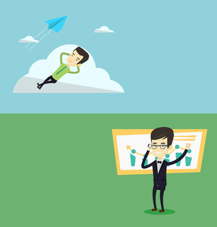 Two business banners with space for text. Vector flat design. Horizontal layout. Young asian business man lying on a cloud and looking at flying paper plane. Business man relaxing on a cloud.