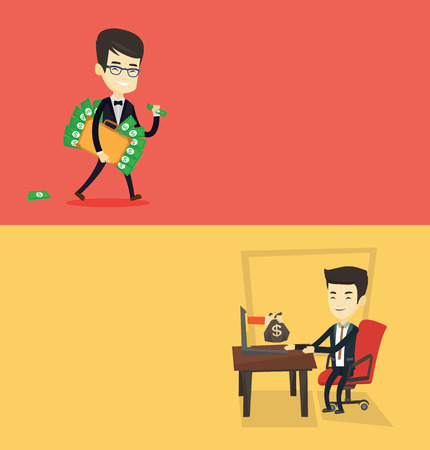 laptop: Two business banners with space for text. Vector flat design. Horizontal layout. Asian business man committing economic crime. Happy business man stealing money. Bribery and economic crime concept. Illustration