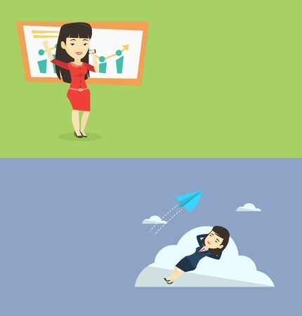investor: Two business banners with space for text. Vector flat design. Horizontal layout. Successful business woman getting good news on mobile phone. Asian successful business woman talking on a mobile phone.