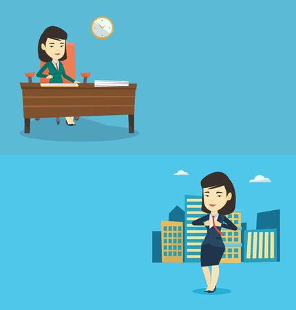 Two business banners with space for text. Vector flat design. Horizontal layout. Asian businesswoman signing business documents in office. Young business woman is about to sign business contract. Illustration