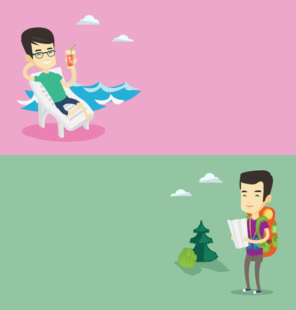 Two travel banners with space for text. Vector flat design. Horizontal layout. Asian man drinking a cocktail on a beach chair. Man sitting on a beach chair. Man resting on a beach chair with cocktail. Vettoriali