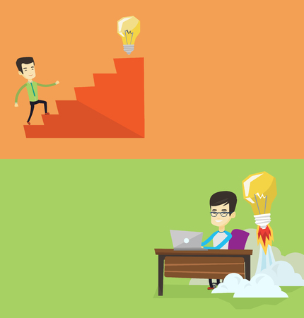 running off: Two business banners with space for text. Vector flat design. Horizontal layout. Businessman working on laptop and idea bulb taking off behind him. Man having business idea. Business idea concept. Illustration