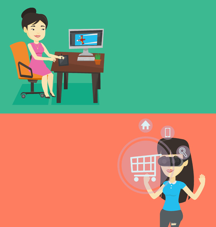 using tablet: Two technology banners with space for text. Vector flat design. Horizontal layout. Graphic designer sitting at desk and drawing on graphics tablet. Designer using digital graphics tablet and computer. Illustration