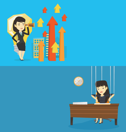 Two business banners with space for text. Vector flat design. Horizontal layout. Young asian business woman looking through spyglass at arrows going up and idea light bulb. Concept of business idea. Illustration