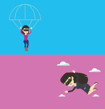 Two technology banners with space for text. Vector flat design. Horizontal layout. Woman wearing vr glasses and flying with parachute. Woman in vr headset having fun while flying in virtual reality. Illustration