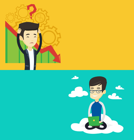 Two technology banners with space for text. Vector flat design. Horizontal layout. Businessman bankrupt clutching head on the background of cogwheels and chart going down. Business bankruptcy concept.