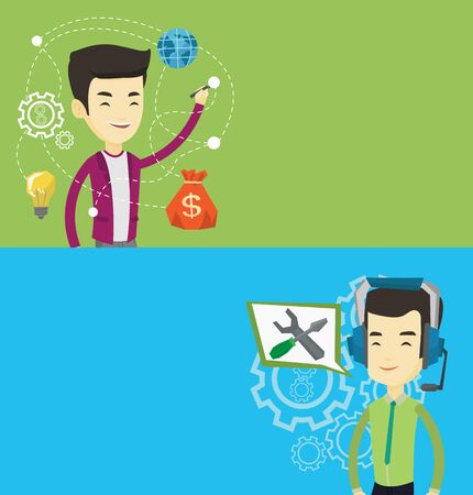 Two technology banners with space for text. Vector flat design. Horizontal layout. Asian businessman writing on a virtual screen. Businessman drawing a cloud computing diagram on a virtual screen.