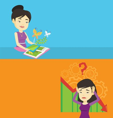 touchpad: Two technology banners with space for text. Vector flat design. Horizontal layout. Asian woman holding tablet above the book and looking at butterflies flying out from tablet. Agmented reality concept Illustration