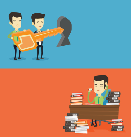 tecla enter: Two business banners with space for text. Vector flat design. Horizontal layout. Business men standing in front of keyhole with key. Business team holding key to success. Two business men carrying key