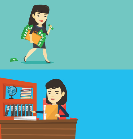 Two business banners with space for text. Vector flat design. Horizontal layout. Asian female office worker working with documents. Young office worker sitting at the table and inspecting documents.