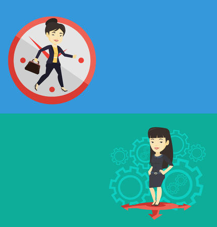 Two business banners with space for text. Vector flat design. Horizontal layout. Busy asian businesswoman running on the background with clock. Busy businesswoman running in a hurry. Busy time concept