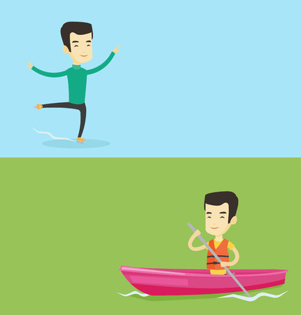 Two sport banners with space for text. Vector flat design. Horizontal layout. Asian man traveling by kayak. Young kayaker paddling. Sportsman riding in a kayak in the river. Sportsman paddling a canoe