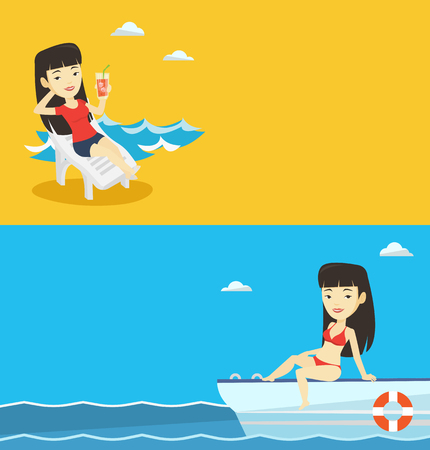 Two travel banners with space for text. Vector flat design. Horizontal layout. Woman tanning on yacht during summer trip. Girl sitting on the front of yacht. Girl resting during summer trip on yacht.