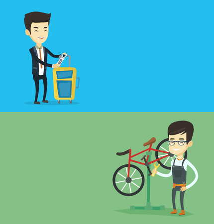 Two transportation banners with space for text. Vector flat design. Horizontal layout. Man working in bicycle workshop. Technician fixing bicycle in repair shop. Bicycle mechanic repairing bicycle. Illustration
