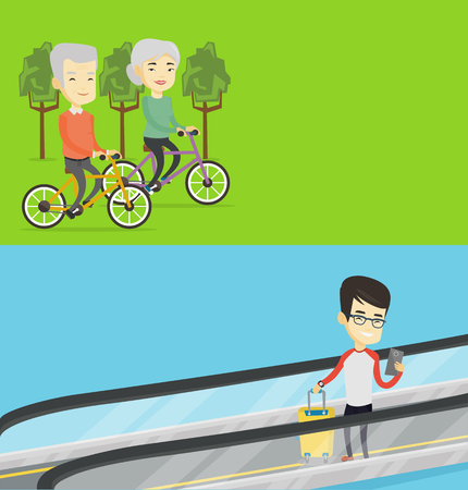 Two transportation banners with space for text. Vector flat design. Horizontal layout. Asian couple riding bikes in park. Senior husband and wife riding on bicycles in park. Retired couple biking.