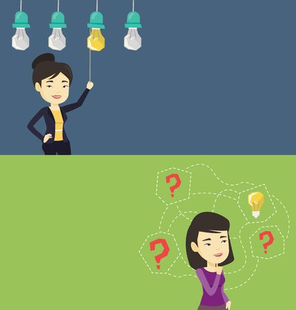 Two business banners with space for text. Vector flat design. Horizontal layout. Asian business woman switching on hanging idea light bulb. Business woman pulling a light switch. Business idea concept