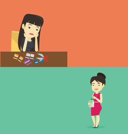 Two business banners with space for text. Vector flat design. Horizontal layout. Young asian sad business woman cutting plastic card. Upset business woman sitting at the desk with cut plastic card. Illustration