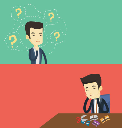 Two business banners with space for text. Vector flat design. Horizontal layout. Thinking business man standing under question marks. Young asian thinking business man surrounded by question marks.