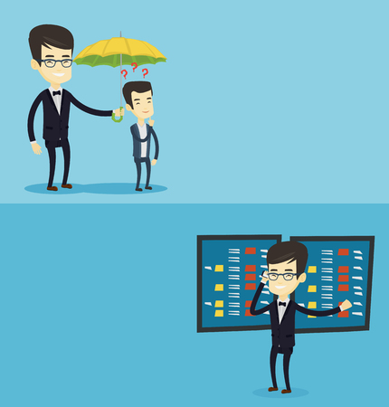 Two business banners with space for text. Vector flat design. Horizontal layout. Businessman talking on mobile phone on the background of display of stock market quotes. Stockbroker at stock exchange. Illustration