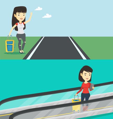 텍스트에 대 한 공간을 가진 두 개의 교통 배너입니다. 벡터 평면 디자인입니다. 가로 레이아웃입니다. 아시아 여자는 공항에서 에스컬레이터에 스마 일러스트