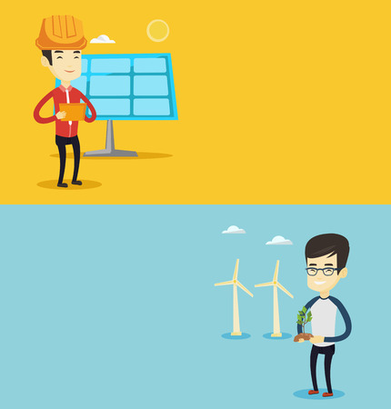 Two ecology banners with space for text. Vector flat design. Horizontal layout. Young asian smiling worker of wind farm. Man holding green small plant in soil on the background of wind turbines.