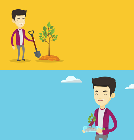 Two ecology banners with space for text. Vector flat design. Horizontal layout. Asian man plants a tree. Young man standing with shovel near newly planted tree. Concept of environmental protection.