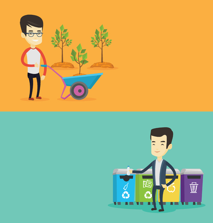 Two ecology banners with space for text. Vector flat design. Horizontal layout. Young asian man throwing away garbage. Man standing near four bins and throwing away garbage in an appropriate bin.