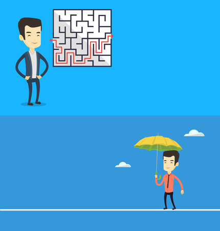 Two business banners with space for text. Vector flat design. Horizontal layout. Businessman looking at labyrinth with solution. Businessman thinking about business solution. Business solution concept