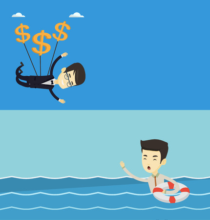 Two business banners with space for text. Vector flat design. Horizontal layout. Businessman flying with dollar signs. Businessman gliding in sky with dollars. Businessman using dollars as parachute. Illustration