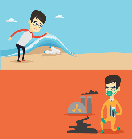 Two ecology banners with space for text. Vector flat design. Horizontal layout. Man showing plastic bottles under water. man collecting plastic bottles from water. Water and plastic pollution concept. Ilustracja