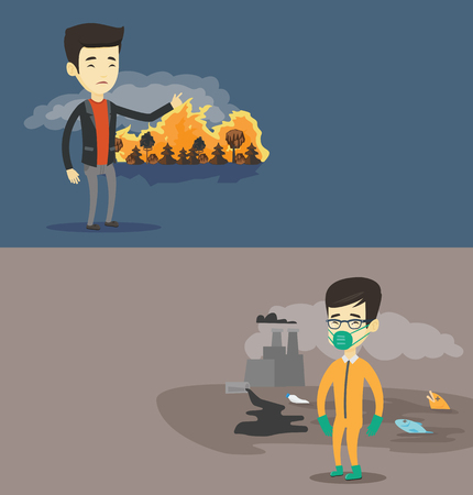 Two ecology banners with space for text. Vector flat design. Horizontal layout. Man standing on the background of forest fire. Man pointing at forest in fire. Concept of environmental destruction. Illustration