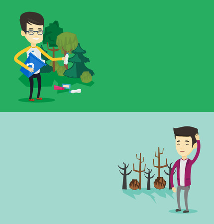 Two ecology banners with space for text. Vector flat design. Horizontal layout. Man scratching head on background of dead trees. Dead forest caused by global warming.Eenvironmental destruction concept Illustration