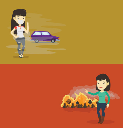 Two ecology banners with space for text. Vector flat design. Horizontal layout. Woman standing on the background of car with traffic fumes. Woman wearing mask to reduce the effect of traffic pollution 矢量图像