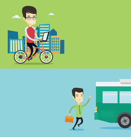 Two transportation banners with space for text. Vector flat design. Horizontal layout. Young asian man riding a bicycle to work in the city. Businessman working on a laptop while riding a bicycle.