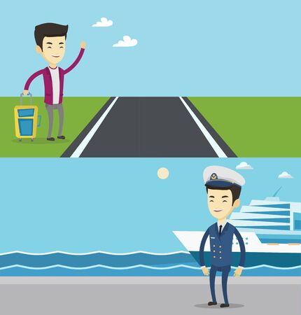 Two transportation banners with space for text. Vector flat design. Horizontal layout. Young asian smiling man with suitcase hitchhiking on roadside. Hitchhiking man trying to stop a car on a highway.
