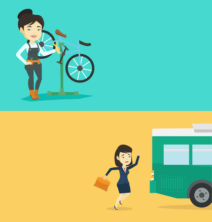 Two transportation banners with space for text. Vector flat design. Horizontal layout. Upset asian business woman running for an outgoing bus. Young sad latecomer business woman running to reach a bus Illustration
