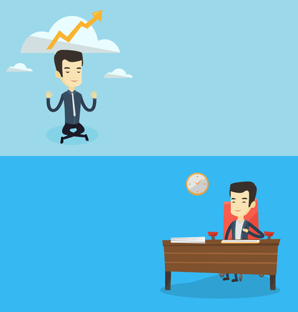 meditation man: Two business banners with space for text. Vector flat design. Horizontal layout. Asian business man doing yoga and thinking about the growth graph. Business man meditating in yoga lotus position. Illustration