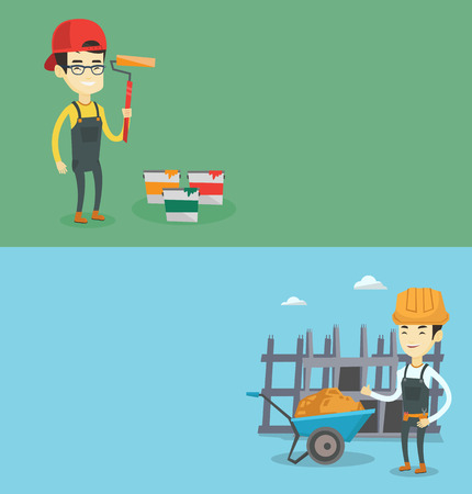 Two construction banners with space for text. Vector flat design. Horizontal layout. Builder giving thumb up. builder with thumb up standing near wheelbarrow. Builder at work on construction site. Illustration