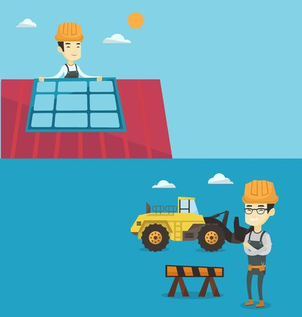 Two construction banners with space for text. Vector flat design. Horizontal layout. Asian builder standing on the background of construction site or road works. Builder standing with arms crossed. Illustration