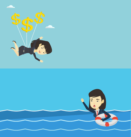 Two business banners with space for text. Vector flat design. Horizontal layout. Frightened business woman sinking and asking for help. Afraid asian business woman with lifebuoy sinking and waving.