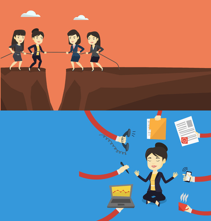 Two business banners with space for text. Vector flat design. Horizontal layout. Two business team pulling rope. Competition between two teams of business people. Concept of competition in business.