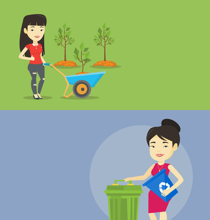 ecologically: Two ecology banners with space for text. Vector flat design. Horizontal layout. Asian gardener standing with wheelbarrow on the background of newly planted trees. Woman pushing wheelbarrow with tree.