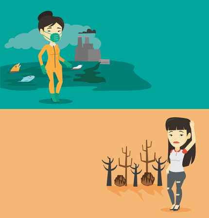 Two ecology banners with space for text. Vector flat design. Horizontal layout. Woman in protective suit standing on the background of nuclear power plant. Scientist wearing radiation protection suit.
